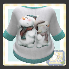 sweater white knit snowmen (Snuggle Animesh Clothes) Tags: second life zooby animesh baby snuggle clothes dress