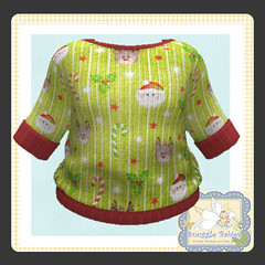 sweater knitted green christmas (Snuggle Animesh Clothes) Tags: second life zooby animesh baby snuggle clothes dress