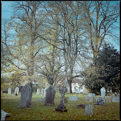 Churchyard Early Autumn (jhotopf) Tags: colorfilm colourfilm portra400 distagon50mmcf4 6x6 mediumformat 120 hasselblad hasselblad501cx