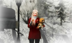 Christmas gift surprise! (Zoey Lynne) Tags: secondlife christmas dog snow ice portrait