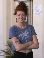 Redhead (Ron Scubadiver's Wild Life) Tags: people portrait outdoor galveston tx nikon 85mm lone star rally tee pants