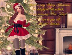 Hildda Season Greetings (Hildda.Deveaue) Tags: secondlife holiday greetings merrychristmas model pose santasuit sexysanta eroticmrsclaus xmastree fireplace christmastree santahat makeup fashion