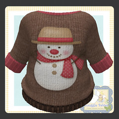 sweater brown knit snowman (Snuggle Animesh Clothes) Tags: second life zooby animesh baby snuggle clothes dress