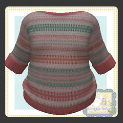 sweater knitted pinks  stripe (Snuggle Animesh Clothes) Tags: second life zooby animesh baby snuggle clothes dress