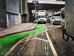 20191206 bent-pbl-bike-lane (Jym Dyer) Tags: bikelane bikesf bollards iphoneography sanfrancisco hipstamatic:film=love81 hipstamatic:lens=jane
