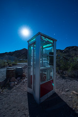 Here's A Quarter, Call Someone Who Cares (Nocturnal Kansas) Tags: night nocturnal moon full nevada desert d800 nikon led1 protomachines nightphotography lightpainting longexposure phonebooth payphone