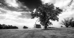 Schoolhouse Rocks (KC Mike Day) Tags: monochrome school schoolhouse tree grass field education campus public kansas canon 1635l