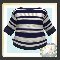 sweater knitted  blue and white stripe (Snuggle Animesh Clothes) Tags: second life zooby animesh baby snuggle clothes dress