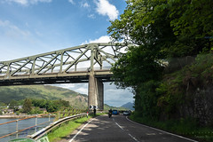 On the Highway (Jocey K) Tags: tripukeroupe2019 june uk scotland southernscotland bridge locheil cars shadows sky clouds road moterbike trees water
