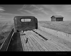 best intentions (Gordon Hunter) Tags: truck bed pickup auto car vehicle wood slats rust metal old abandoned decay shed prairies field simple country rural ab canada gordon hunter nikon d5000