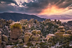 Hoodoos (larwbuck) Tags: arizona landscape boulders clouds colors mountains nationalpark rocks snow sunset travel valley winter