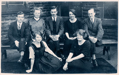 Group of Men and Women (pepandtim) Tags: postcard old early nostalgia nostalgic photograph group men women bench 34gmw33 boots