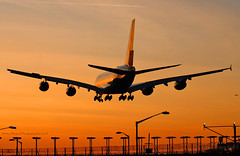 A380 in the Sunset Afterglow at Heathrow (Infinity & Beyond Photography: Kev Cook) Tags: a380 sunset afterglow heathrow airlines airways airbus aircraft airplane airliner airport london lhr egll planespotting photos planes silhouette orange skies
