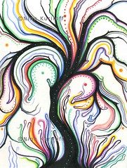 Black Tree with Rainbow Color (ninakuriloff) Tags: tree treeartwork colorful drawing pens paper fantasy surreal abstract