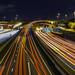 Highway Interwound (hp light) Tags: bridge night traffic lighttrack