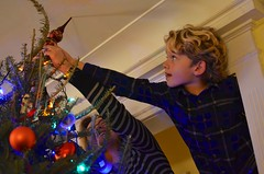 Everett Putting On The Star (Joe Shlabotnik) Tags: home 2019 december2019 christmas everett proudparents sue christmastree afsdxnikkor35mmf18g