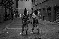 DSC00077 (Damir Govorcin Photography) Tags: the bird cages angel place sydney cbd blackwhite monochrome lane way composition women people architecture building 70200mm sony a9