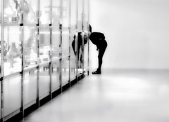 .... looking down .... (christikren) Tags: art blackwhite christikren design detail glass exhibition europe weimar bauhaus museum noiretblanc canonpowershotg5x canon white black human visitor gallery silhouette mirror reflection blanc