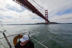 Under the Golden Gate Bridge with Jack (Chris D 2006) Tags: catalina27 goldengatebridge jack pier39 sanfrancisco sundancer underthegoldengatebridgewithjack bridge ca candid exterior geocode people sailboat sailing sport