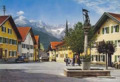 Postkarte / Deutschland (micky the pixel) Tags: germany bayern deutschland postcard oberbayern ephemera alpen garmischpartenkirchen postkarte zugspitze floriansplatz