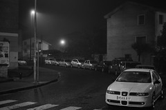 That misty day (turboturpin) Tags: cars car mist bw night
