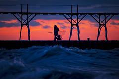 Done fishing (Notkalvin) Tags: fish fishing fisherman outdoors pier notkalvin water lakemichigan waves night sunset mikekline silhouette weather cold winter michigan manistee