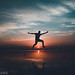 Golden Hour & Jumping Boy (maihonhassan) Tags: silhouette karachi pakistan sunset unreal calm peace changinglight beach orange shadow sky dusk solitude time nature jumping people compostion outdoor color