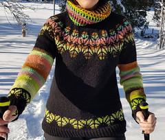 Création pull et col. Laine islandaise Léttlopi et laine japonaire Noro (Marie-Annick Vigne. + 1'000'000. Merci. Thanks) Tags: tricot laine islandaise japonaise pull lopi istex