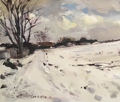 The Pit Hill Newton Hill Wakefield (Captain Wakefield) Tags: cold trees modern west yorkshire wakefield winter snow art landscape contemporary burton samuel artist impressionist oil painting