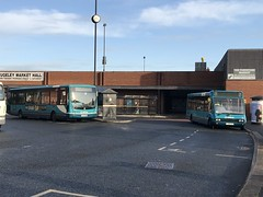 AMN 3845 and 2499 @ Rugeley bus station (ianjpoole) Tags: arriva midlands vdl sb200 plaxton centro yj57bwe 3845 optare solo m880 yj58pkd 2499 working route 63 rugeley bus station cannock 24 birch lane brereton