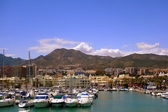 In the port (majka44) Tags: spanielsko spain andalusia travel sea mountain palm building architecture blue city colors light day nice mood atmosphere beach forest view yacht ship umbrella pier landscape composition sky cloud water seaview hotel holiday