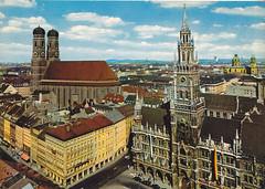Postkarte / Deutschland (micky the pixel) Tags: postkarte postcard ephemera deutschland germany münchen munich marienplatz neuesrathaus frauenkirche bayern bavaria