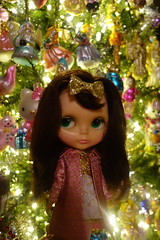 The glow of the Christmas tree... (Primrose Princess) Tags: 1972 kenner blythe doll kennerblythe vintage christmas pink gold princess dollydreamland dolly couture fashion