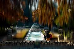 In a corner of the park (ricardocarmonafdez) Tags: imaginación edición effect processing people urbanshot color movement simetría symmetry nikon d850 fuente fountain lights shadows trees arboles parque park agua water