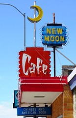 WY, Casper-New Moon Cafe Neon Sign