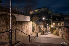 Watch Out For Us (TVZ Photography) Tags: hdr highdynamicrange vennel passageway stairs castle grassmarket edinburgh lothian capital city scotland architecture sky night evening lowlight longexposure sonya7riii sony 1635mm sel1635gm