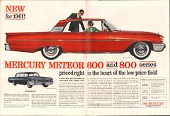 1961 Mercury Meteor 600 and 800 Advertisement Life Magazine October 10 1960 (SenseiAlan) Tags: 1961 mercury meteor 600 800 advertisement life magazine october 10 1960