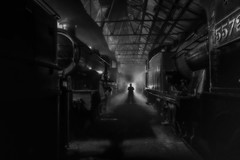 Night Time in the Depot (photofitzp) Tags: blackandwhite didcotrailwaycentre gwr nightphotography timelineevents bw absoluteblackandwhite