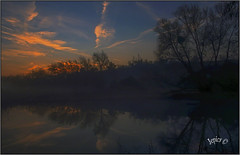 Winter Sunrise. (Picture post.) Tags: landscape nature green water sunrise trees reflections clouds winter bluesky paysage arbre mist brume