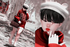 // white streets (Yokopuff) Tags: 3d game art photoshop photography digital colors lights lighting girl asian kawaii cute fashion makeup hair style styling model pose contrast body mouth eyes color shadows snow winter christmas legs thighs lips hands fingers portrait red white
