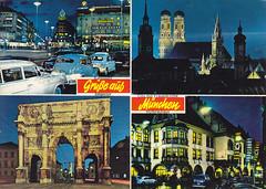 Postkarte / Deutschland (micky the pixel) Tags: germany munich münchen bayern deutschland postcard ephemera postkarte multiview bavaria frauenkirche stachus siegestor karlsplatz hofbräuhaus