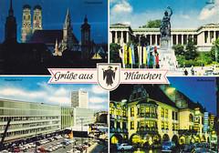 Postkarte / Deutschland (micky the pixel) Tags: deutschland postcard ephemera postkarte multiview germany munich münchen bayern bavaria sculpture skulptur bahnhof frauenkirche hofbräuhaus