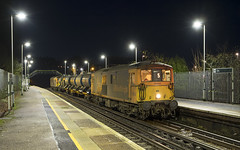 "73107 ""Tracy"" & 73213 3W05 Ore 12/12/2019 (Waddo's World of Railways) Tags: 73 731 ed jb ore sussex eastsussex orestation station night train rail railway loco locomotive rhtt class73 railheadtreatmenttrain 3w05 gb gbrf gbrailfreight nightphotography nightrailwayphotography dark hastings hastingstoashford hastingstoashfordline 73107 107 213 73213 tracy 73107tracy 732"
