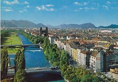 Postkarte / Deutschland (micky the pixel) Tags: germany munich münchen bayern deutschland bavaria postcard ephemera postkarte river alpen fluss isar