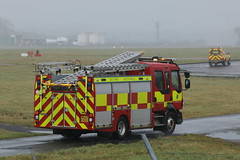 Fire appliance visit. (aitch tee) Tags: wet weather cardiffairport aircraftspotting emergencyvehicles fireandrescue fireappliance tandecymru wales
