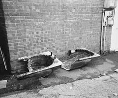 English Bath (Attila Pasek (Albums!)) Tags: analogue bathtub boscombe blackandwhite disposable street things camera bw abandoned broken 35mm film ilfordhp5