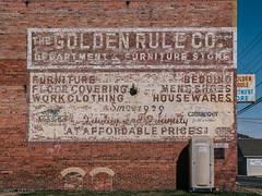 Golden Rule (makleen) Tags: westvirginia brickbuilding brick advertising advertisement brickad bricksign ghostsign fadingad outhouse latrine wall