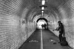 York Busker (Mike Brown MW) Tags: panasonic lumix black white blackandwhite busker york tunnel tz200 north yorkshire street life urban