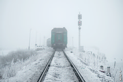To far away... (N.Batkhurel) Tags: season winter passengertrain signal fog snow railway railroad rails trains trainspotting transport railfan ngc nikon nikondf nikkor 24120mm mongolia monrailpic