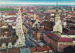 Postkarte / Deutschland (micky the pixel) Tags: germany munich münchen deutschland postcard ephemera postkarte bavaria church kirche marienplatz basilika neuesrathaus stpeterbayern